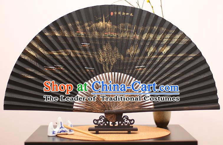 Traditional Chinese Crafts Printing Broken Bridge Mulberry Paper Folding Fan, China Handmade Bamboo Palm Fans for Men