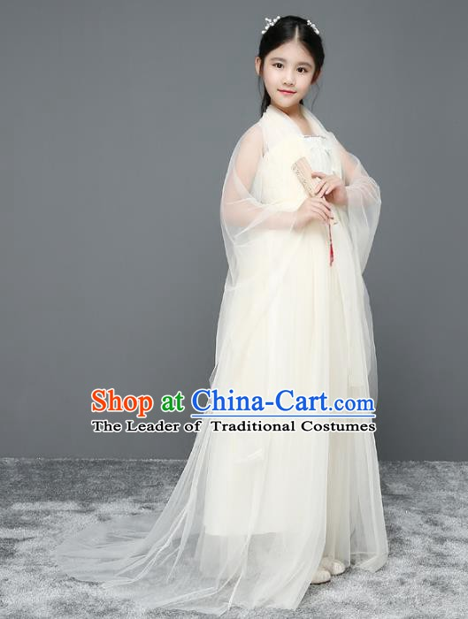 Traditional Chinese Tang Dynasty Imperial Princess Costume, China Ancient Fairy Hanfu Trailing Clothing for Kids