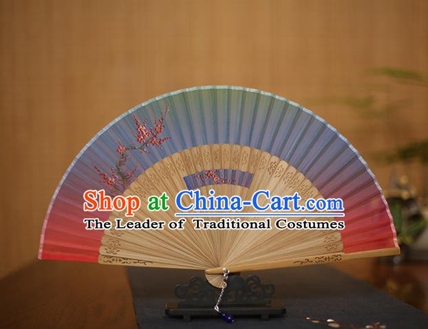 Traditional Chinese Crafts Printing Plum Blossom Folding Fan, China Handmade Classical Blue Silk Fans for Women