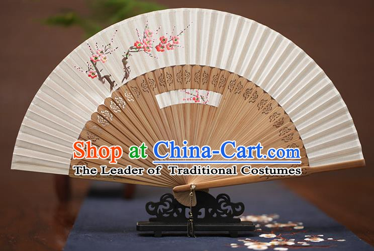 Traditional Chinese Crafts Printing Wintersweet Folding Fan, China Handmade Classical White Silk Fans for Women