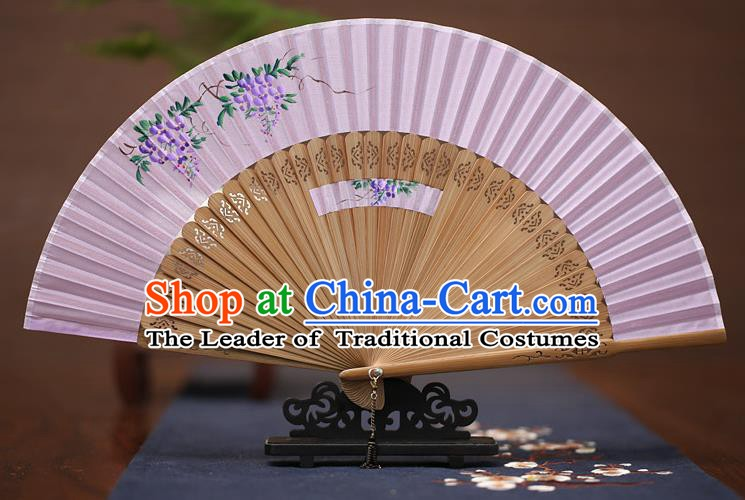 Traditional Chinese Crafts Printing Wisteria Folding Fan, China Handmade Classical Lilac Silk Fans for Women