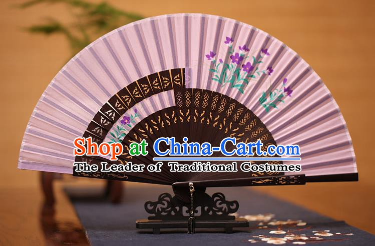 Traditional Chinese Crafts Printing Flowers Folding Fan, China Handmade Classical Lilac Silk Fans for Women