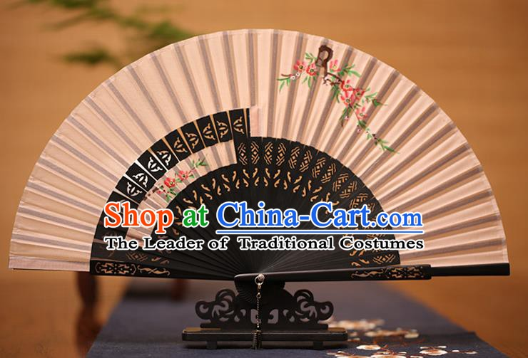 Traditional Chinese Crafts Printing Peach Blossom Folding Fan, China Handmade Classical Pink Silk Fans for Women