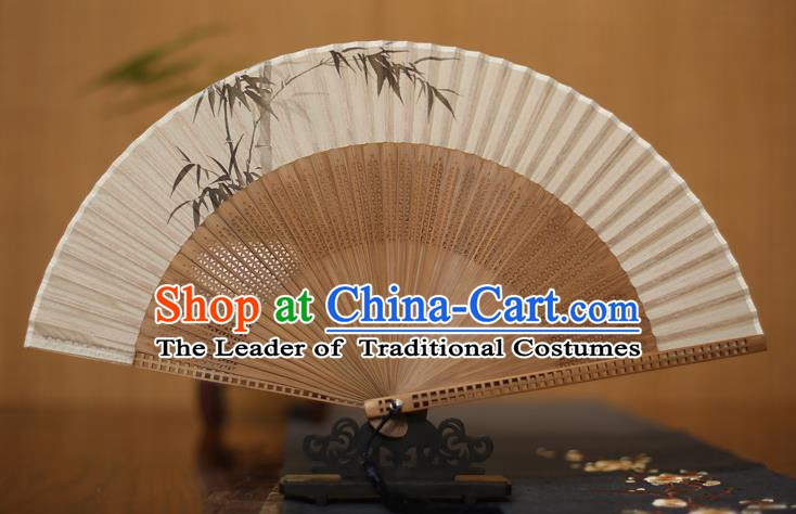 Traditional Chinese Crafts Printing Bamboo Folding Fan, China Handmade Classical Silk Pierced Fans for Women