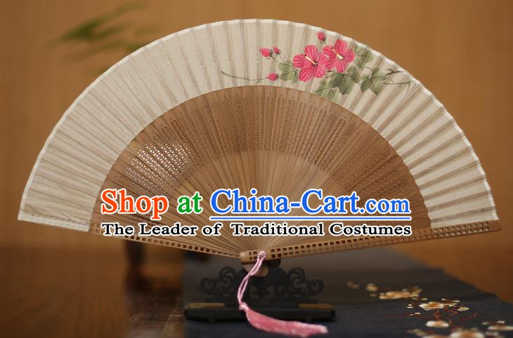 Traditional Chinese Crafts Printing Flowers Folding Fan, China Handmade Classical Silk Pierced Fans for Women