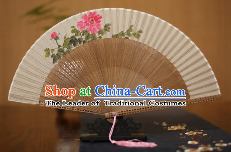 Traditional Chinese Crafts Printing Peony Folding Fan, China Handmade Classical Silk Pierced Fans for Women