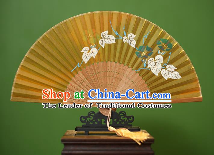 Traditional Chinese Crafts Printing Morning Glory Folding Fan, China Handmade Classical Yellow Silk Fans for Women