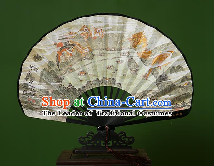 Traditional Chinese Crafts Hand Painting Dragon Phoenix Folding Fan, China Handmade Classical Paper Fans for Women