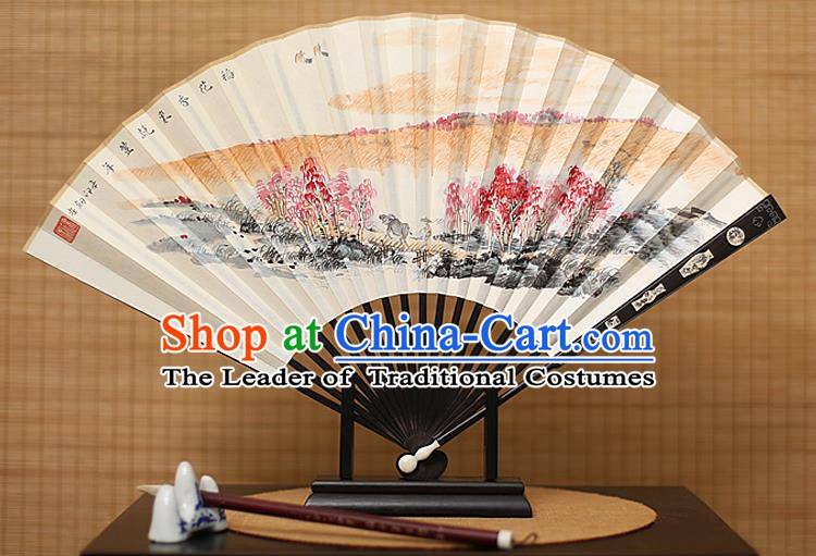 Traditional Chinese Crafts Painting Paper Folding Fan, China Handmade Ebony Fans for Men