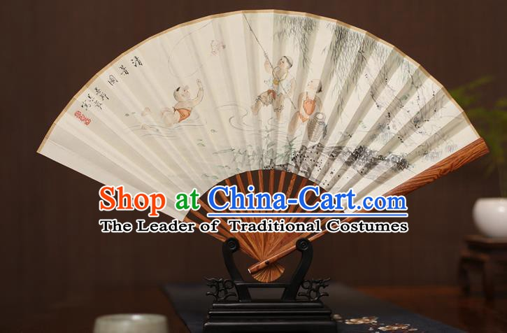 Traditional Chinese Crafts Ink Painting Paper Folding Fan, China Handmade Pear Wood Fans for Men