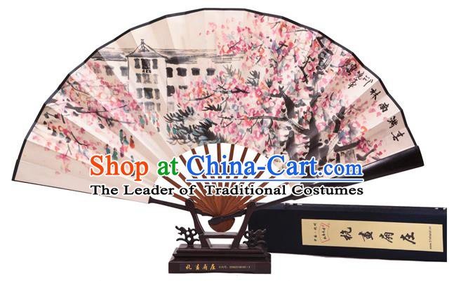 Traditional Chinese Crafts Purple Leaf Wingceltis Classical Paper Folding Fan, China Handmade Printing Peach Blossom Fans for Women