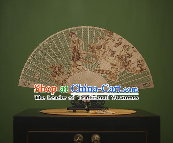 Traditional Chinese Crafts Carving Beauty Classical Folding Fan, China Handmade Sandalwood Fans for Women