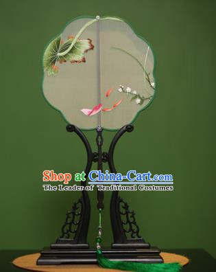 Traditional Chinese Crafts Suzhou Embroidery Orchid Fish Palace Fan, China Princess Embroidered Silk Fans for Women