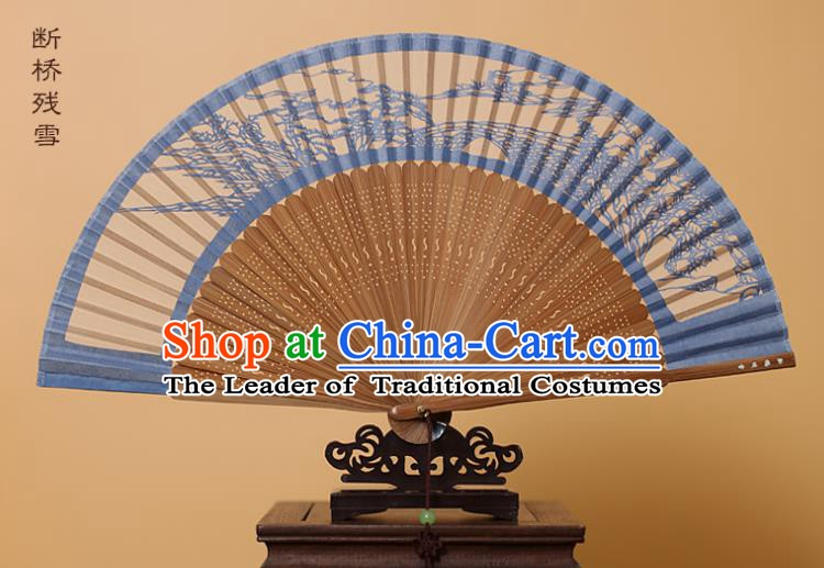 Traditional Chinese Crafts West Lake Scenery Folding Fan, China Handmade Scissor-Cut Blue Silk Fans for Women