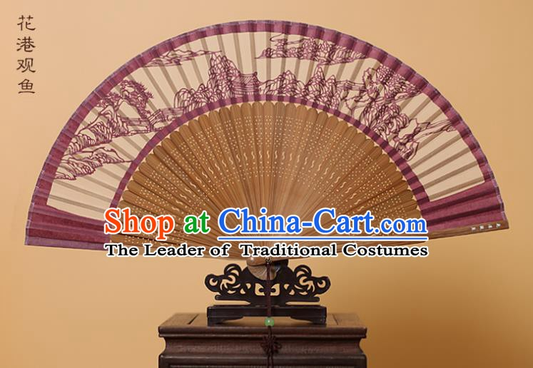 Traditional Chinese Crafts West Lake Scenery Folding Fan, China Handmade Scissor-Cut Amaranth Silk Fans for Women
