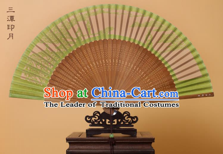 Traditional Chinese Crafts Three Pools Mirroring the Moon Folding Fan, China Handmade Scissor-Cut Green Silk Fans for Women