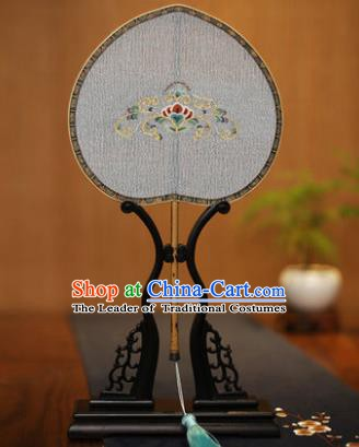 Traditional Chinese Crafts Tapestry Silk Palace Fan, China Printing Princess Silk Flat Peach Fans for Women