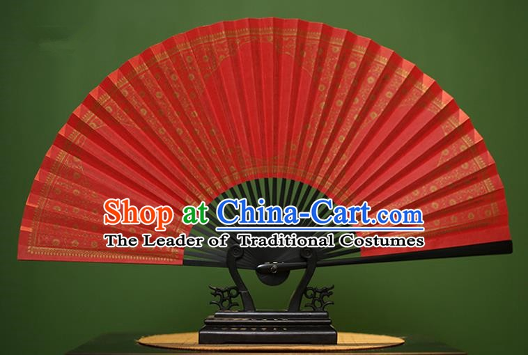 Traditional Chinese Crafts Red Paper Folding Fan, China Handmade Gold Stamping Fans for Men