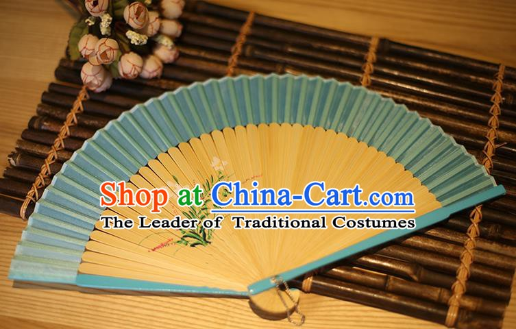 Traditional Chinese Crafts Printing Flowers Classical Folding Fan, China Handmade Blue Silk Fans for Women