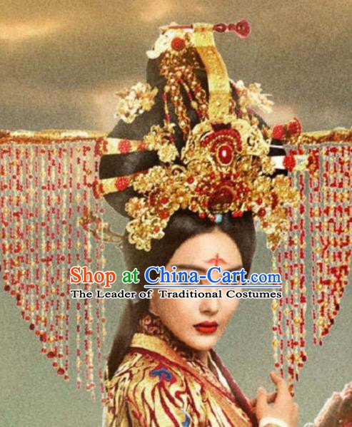 Chinese Ancient Bride Hair Accessories Xiuhe Suit Tassel Phoenix Coronet, China Empress Hairpins Headwear for Women