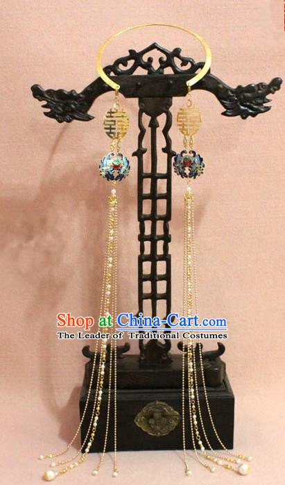 Traditional Chinese Handmade Jewelry Accessories Ancient Bride Necklace Hanfu Cloisonn Tassel Necklet for Women