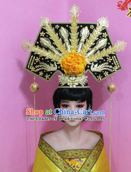 Traditional Chinese Handmade Hair Accessories Ancient Qing Dynasty Manchu Imperial Concubine Phoenix Coronet Headwear for Women
