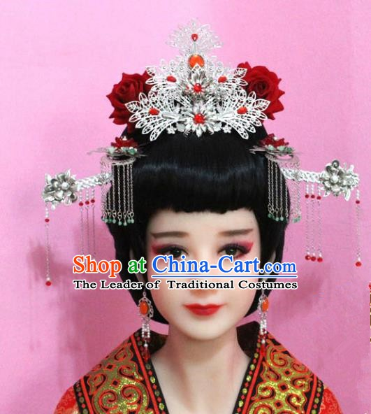 Traditional Chinese Handmade Hair Accessories Ancient Princess Hairpins Phoenix Coronet Complete Set for Women
