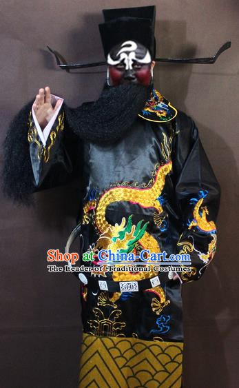 Traditional China Beijing Opera Bao Zheng Costume Embroidered Robe, Chinese Peking Opera Prime Minister Gwanbok