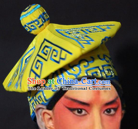 Traditional China Beijing Opera Takefu Yellow Hats, Chinese Peking Opera Imperial Bodyguard Embroidered Headwear