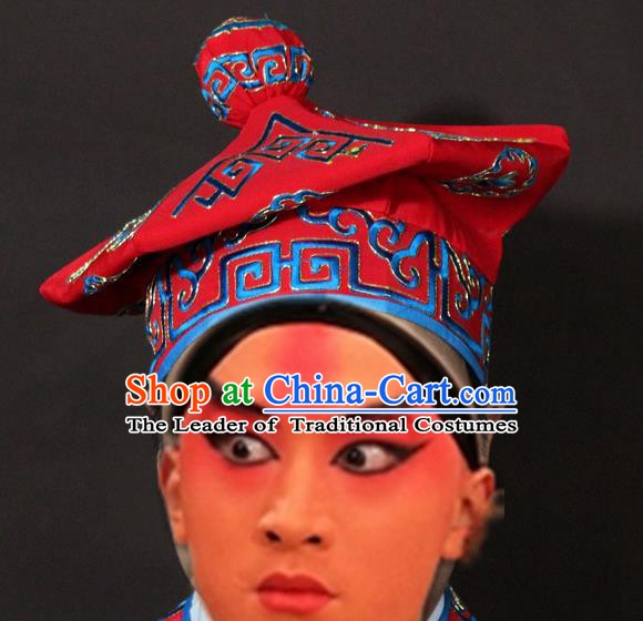 Traditional China Beijing Opera Takefu Red Hats, Chinese Peking Opera Imperial Bodyguard Embroidered Headwear