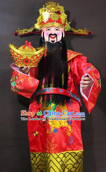 Traditional China Beijing Opera God of Wealth Costume Red Embroidered Robe, Chinese Peking Opera Mammon Gwanbok