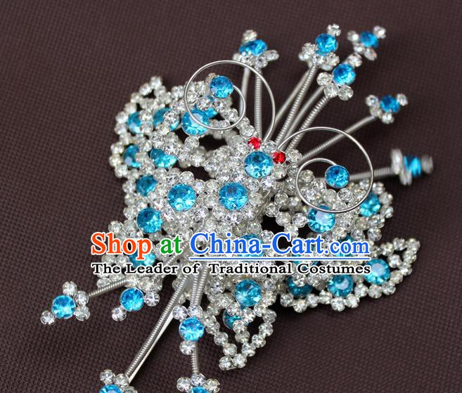 Traditional China Beijing Opera Actress Hair Accessories Hairpins, Chinese Peking Opera Diva Butterfly Hair Stick Headwear