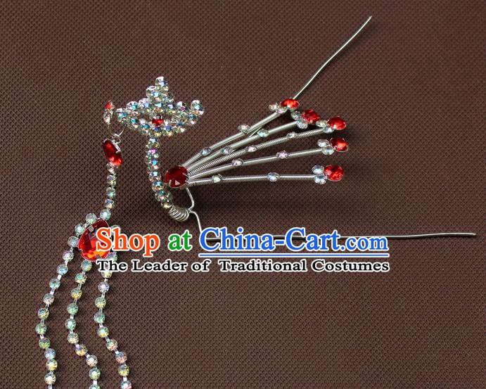 Traditional China Beijing Opera Actress Hair Accessories Hairpins, Chinese Peking Opera Diva Step Shake Headwear