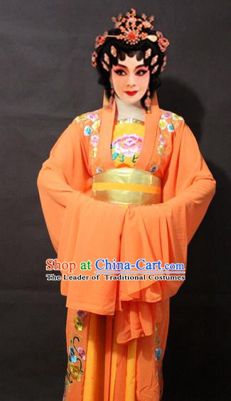 Traditional China Beijing Opera Imperial Concubine Embroidered Yellow Costume, Chinese Peking Opera Actress Embroidery Clothing