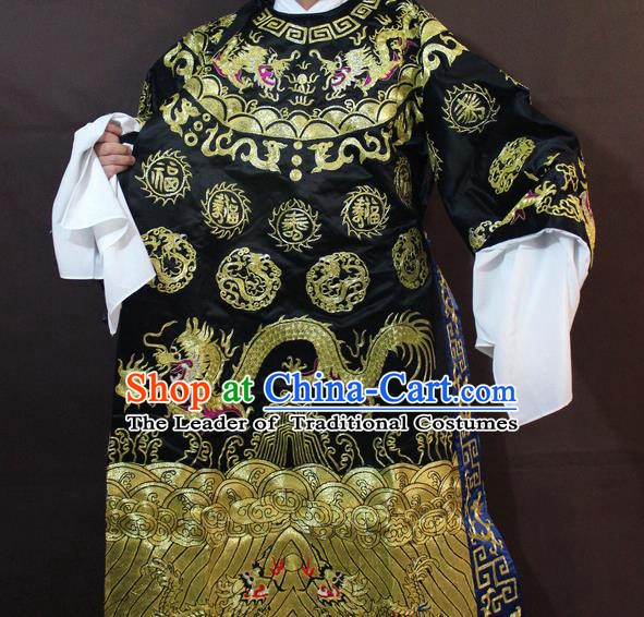 Traditional China Beijing Opera Prime Minister Embroidered Costume, Chinese Peking Opera Bao Zheng Gwanbok Black Embroidered Robe