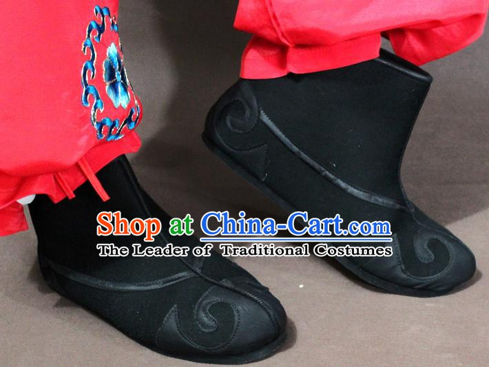 Traditional China Beijing Opera Takefu Embroidery Shoes, Chinese Peking Opera Warrior Boots