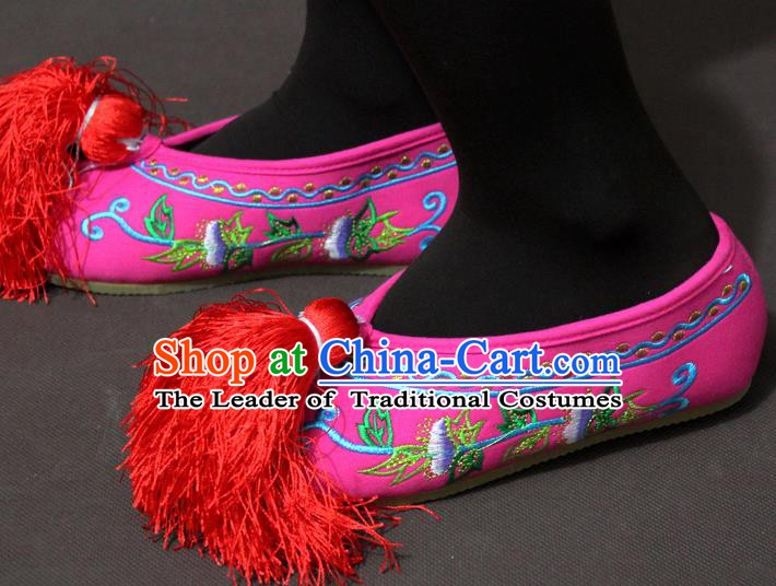 Traditional China Beijing Opera Actress Embroidery Pink Shoes, Chinese Peking Opera Diva Blood Stained Shoes