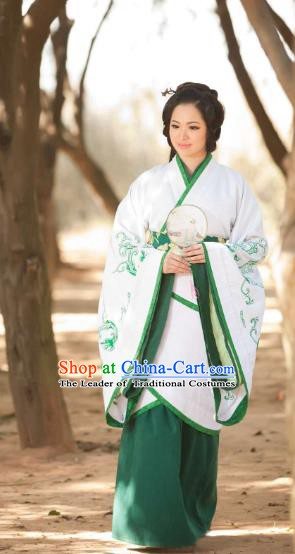 Traditional Chinese Han Dynasty Princess Hanfu Clothing, China Ancient Palace Lady Costume for Women