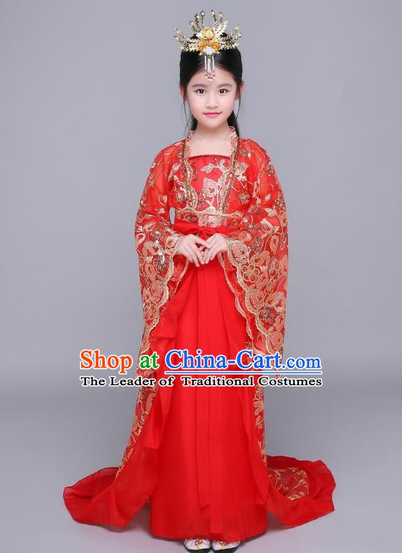 Traditional Chinese Ancient Children Fairy Hanfu Clothing, China Tang Dynasty Palace Princess Costume Trailing Dress for Kids