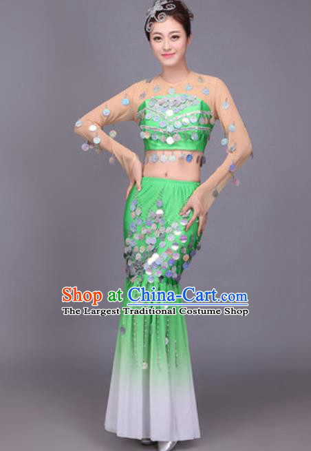 Chinese Traditional Dai Nationality Peacock Dance Costume Pavane Sequins Green Dress for Women