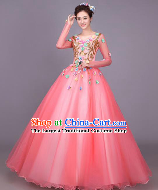 Professional Opening Dance Costume Stage Performance Modern Dance Pink Dress for Women