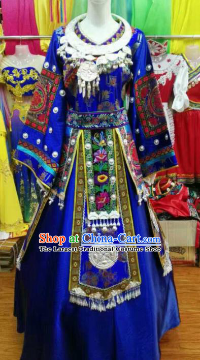 Chinese Traditional Miao Nationality Wedding Blue Costume Hmong Folk Dance Ethnic Clothing for Women