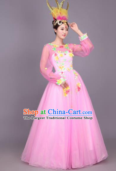 Professional Opening Dance Costume Stage Performance Modern Dance Pink Bubble Dress for Women