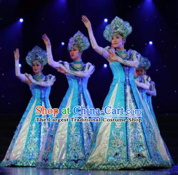 Professional Opening Dance Costume Stage Performance Modern Dance Blue Dress for Women