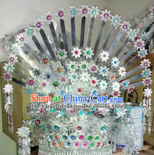 Chinese Traditional Miao Nationality Hair Accessories Wedding Hat Colorful Phoenix Coronet for Women