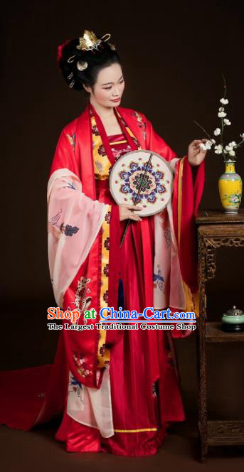 Traditional Chinese Tang Dynasty Wedding Red Hanfu Dress Ancient Bride Costumes Complete Set for Women