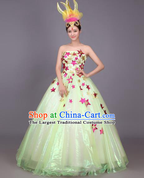 Professional Modern Dance Green Dress Opening Dance Stage Performance Chorus Costume for Women