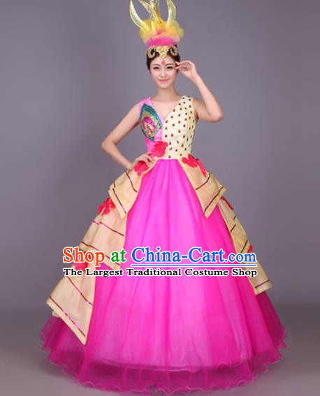Professional Modern Dance Rosy Veil Dress Opening Dance Stage Performance Chorus Costume for Women