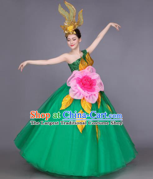 Professional Modern Dance Green Veil Dress Opening Dance Stage Performance Chorus Costume for Women