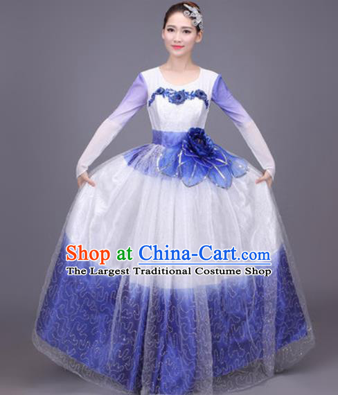 Professional Modern Dance Blue Dress Opening Dance Stage Performance Chorus Costume for Women